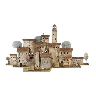 1970s Curtis Jeré Colorful Wall-mounted Mediterranean Village Sculpture by Curtis Jere For Sale