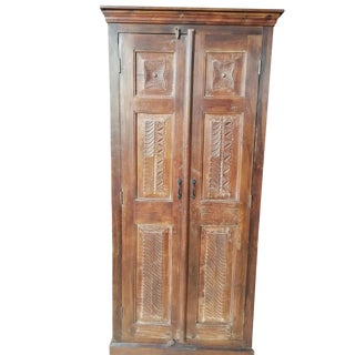 Antique Armoire Rustic Hand Carved Cabinet Eclectic For Sale