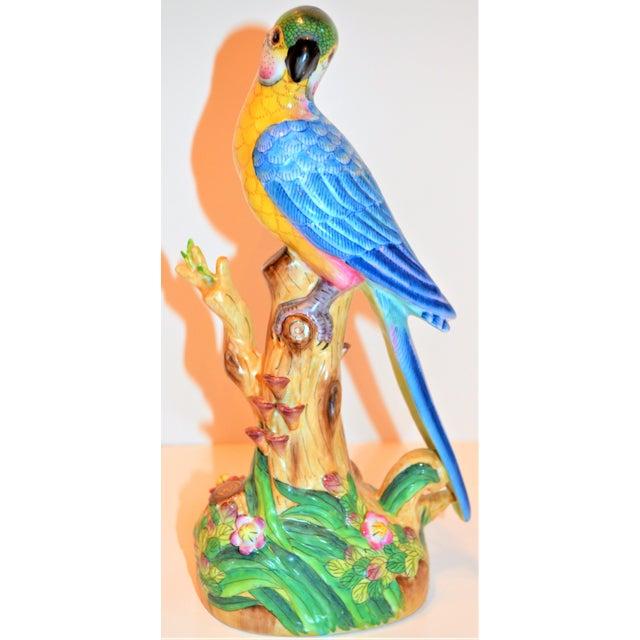 Blue (Final Markdown) 1970s Vintage Majolica Parakeet & Pheonix Figurines - Set of 3 For Sale - Image 8 of 12