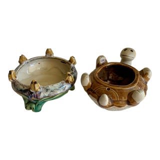 Set of Two Frog and Turtle Ceramic Planters For Sale