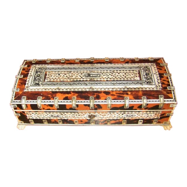 19c Anglo Indian Vizagapatam Bone and Shell Glove Box For Sale
