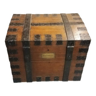 Late 1800s Oak Silver Trunk For Sale