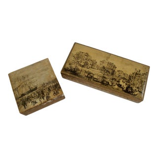Pair Italian Florentine Trinket Boxes Boats For Sale