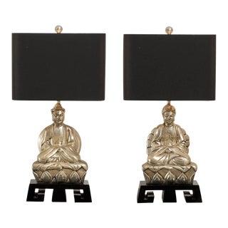 Elegant Pair of Cast Asian Lamps on Greek Key Base For Sale