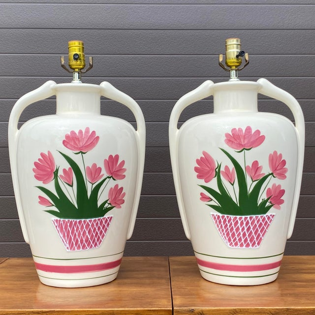 Harris China Hand Painted Flower Pot Lamps - a Pair For Sale - Image 13 of 13