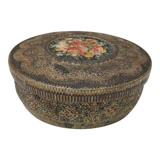 Early 20th Century Dutch Floral Tin Container For Sale
