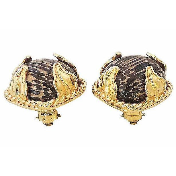 1980s Dominique Aurientis Striped Earrings For Sale - Image 4 of 7