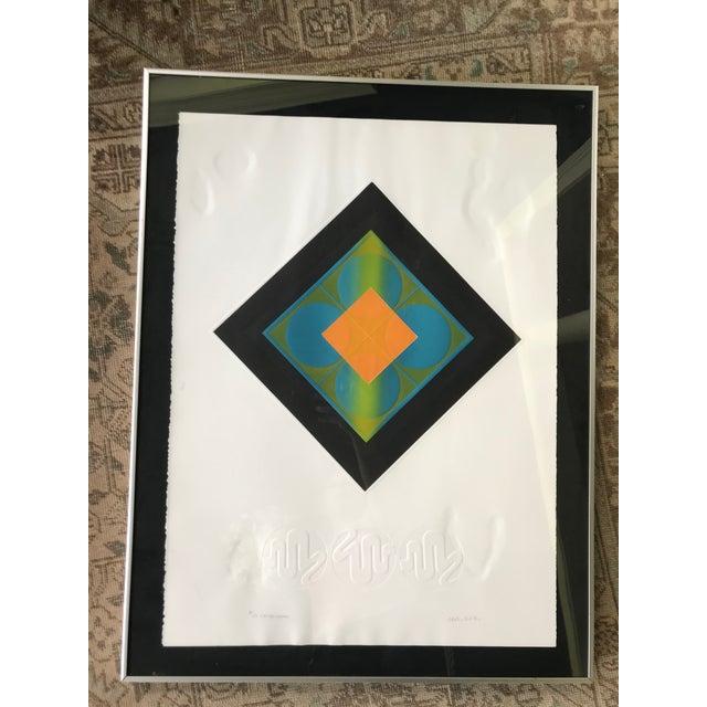 Paper Mid-Century Modern Carlos Davila Geometric Embossed Serigraph Print, Framed For Sale - Image 7 of 8