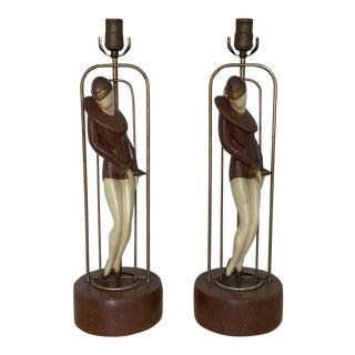 1950s Art Deco Metal and Plaster Lamps With Stylized Flapper Women - a Pair For Sale
