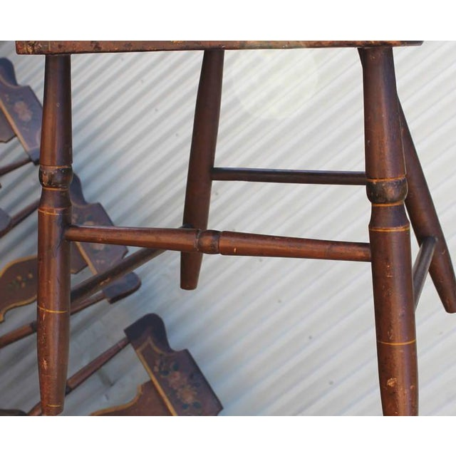 Set of Six Original Painted 19th Century Pennsylvania Plank-Bottom Chairs For Sale - Image 9 of 9