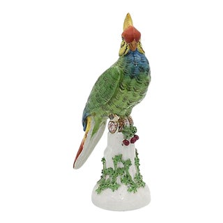 19th Century Antique French Paris Porcelain Parrot For Sale