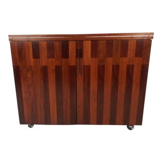 Mid-Century Modern Rosewood and Walnut Flip Top Bar by Lane Furniture
