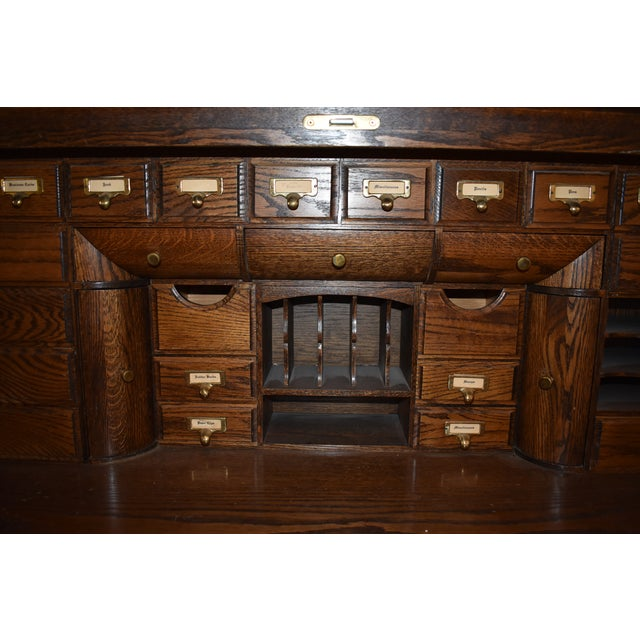 Traditional Oak Crest Manufacturing Rolltop Desk For Sale In Monterey, CA - Image 6 of 10