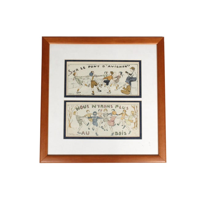 "Early 20th Century Framed Antique French Nursery Rhyme Lithograph ""Sur Le Pont D'Avignon"" For Sale - Image 5 of 5"