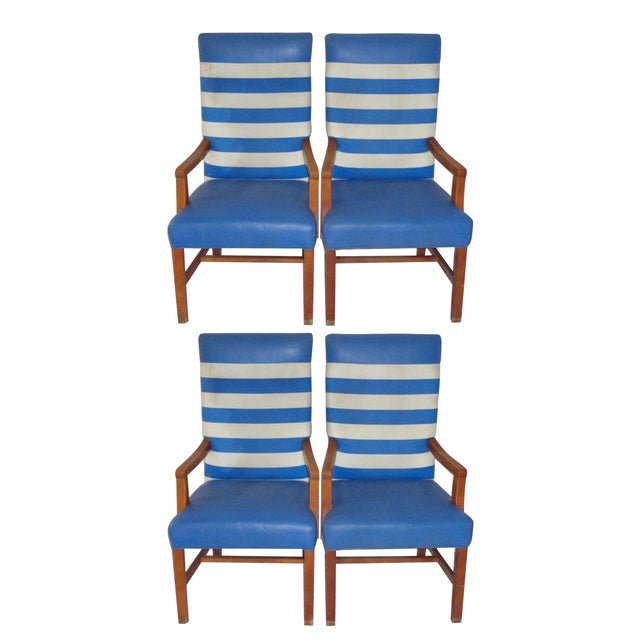 Nautical Themed Leather & Canvas Chairs - Set of 4 - Image 1 of 6