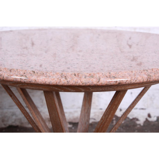 Edward Wormey for Dunbar Style Sheaf of Wheat Marble Top Side Table For Sale - Image 9 of 11