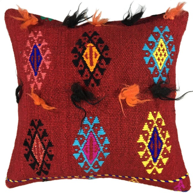 """Mid-Century Modern Electric Funk Vintage Kilim Pillow   16"""" For Sale - Image 3 of 3"""