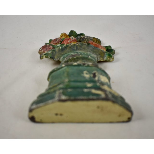 1930s Hubley 1930s Cast Iron Petite Floral Green Urn Doorstop For Sale - Image 5 of 10