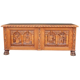 1910s Arts & Crafts, Neo Gothic Hand-Carved Oak Chest For Sale