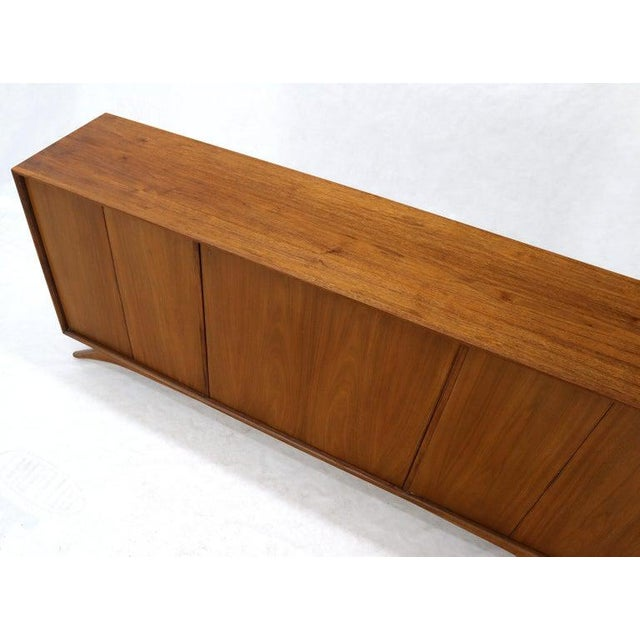 Kagan influence sculptural legs Mid-Century Modern three compartment side board credenza with swivel bar in the centre...