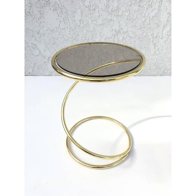 1970s Brass and Bronze Glass Spiral Occasional Tables by Pace Collection - A Pair For Sale - Image 5 of 9