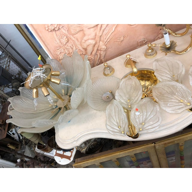 Mid-Century Murano Glass Flower Petal Chandelier For Sale - Image 10 of 11