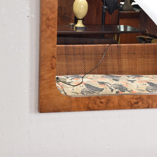 Yellow Mid-Century Modern Wall Mirror in Burl Wood For Sale - Image 8 of 11