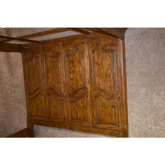 Brown Vintage Drexel Heritage King Size Canopy Bed For Sale - Image 8 of 13