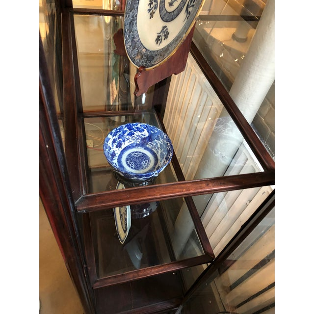 19th Century Chinese Rosewood Hand Carved 3 Shelf Curio Display Cabinet With Two Side Doors For Sale - Image 10 of 13