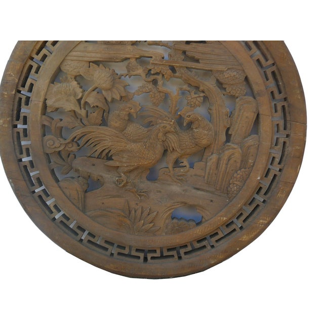 Chinese Vintage Round 3 Roosters Wall Plaque - Image 3 of 4