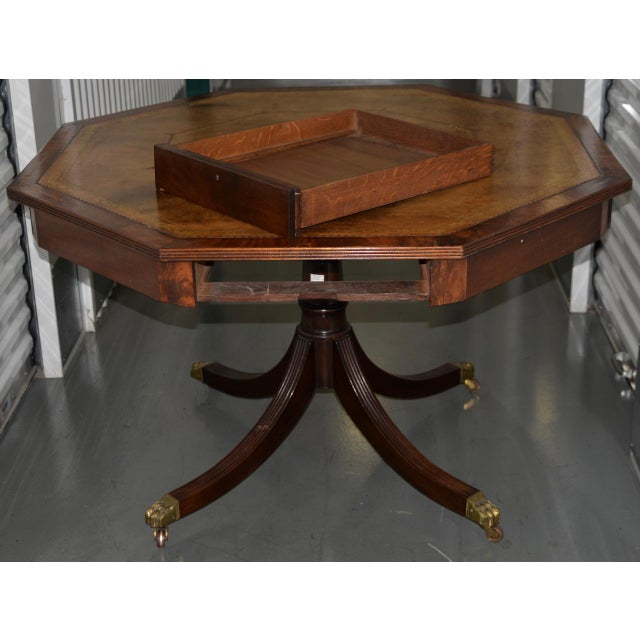 English Traditional 19th Century Mahogany & Embossed Leather Octagonal Rent Table For Sale - Image 3 of 10