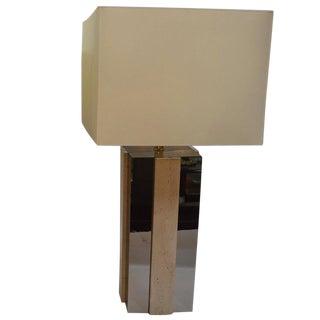 Single Square Copper Mirror and Travertine Lamp For Sale