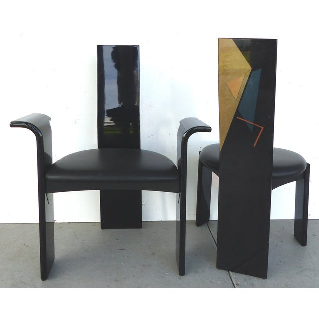 Lacquered Chairs with Painted Backs - Set of 4 - Image 2 of 6