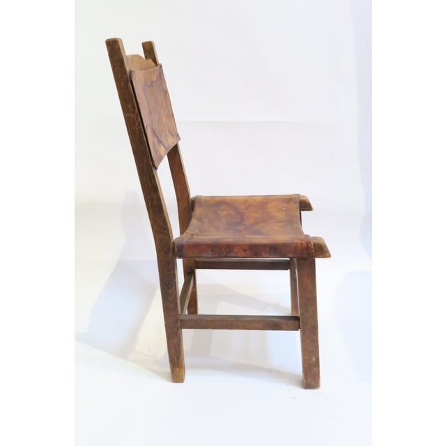 Rustic Wood & Leather Mission Style Chair - Image 4 of 6