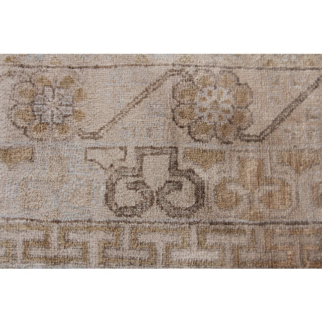 Traditional Fine Khotan Hand knotted Bamboo/Silk Camel/Ivory Rug-8'x10' For Sale - Image 3 of 11
