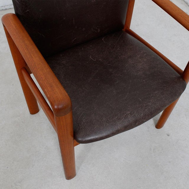 Danish Modern Teak & Distressed Leather Arm Chair For Sale - Image 5 of 7