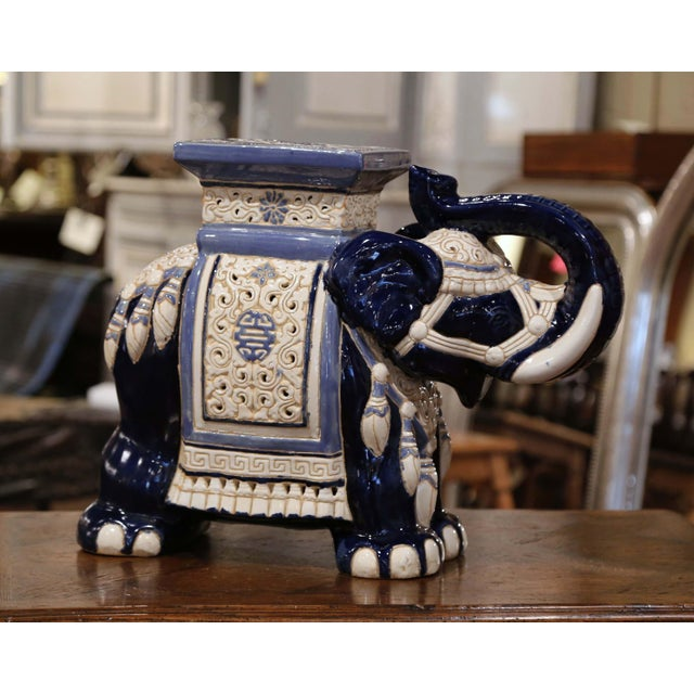 Mid 20th Century Mid-20th Century Hand Painted Faience Elephant Garden Seat For Sale - Image 5 of 9
