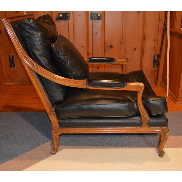Contemporary Vintage Black Leather Upholstered Bergere Chair For Sale - Image 3 of 5