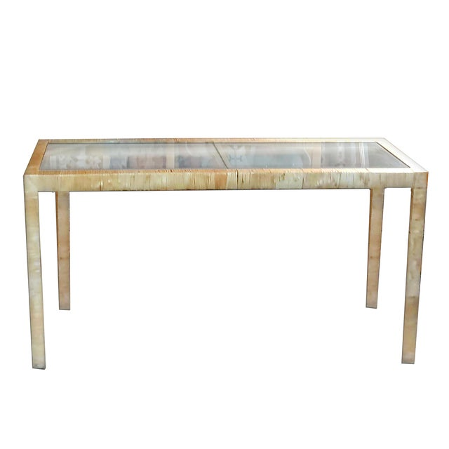 Bielecky Brothers Wicker Papyrus Reed Wrapped Console Table with Inlaid Glass Top For Sale - Image 11 of 11