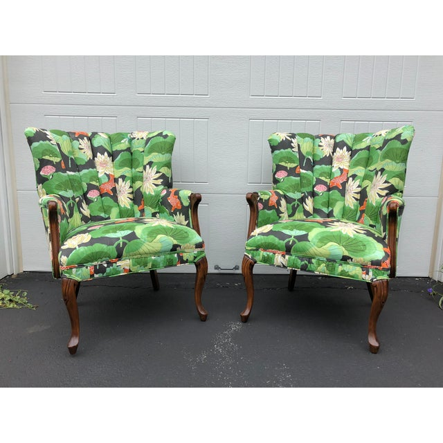 Green Carved Wood Upholstered Koi Fabric Scallop Back Chairs - Set of 2 For Sale - Image 8 of 8