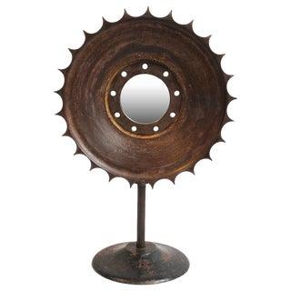 Industrial Iron Sun Gear Mirror For Sale