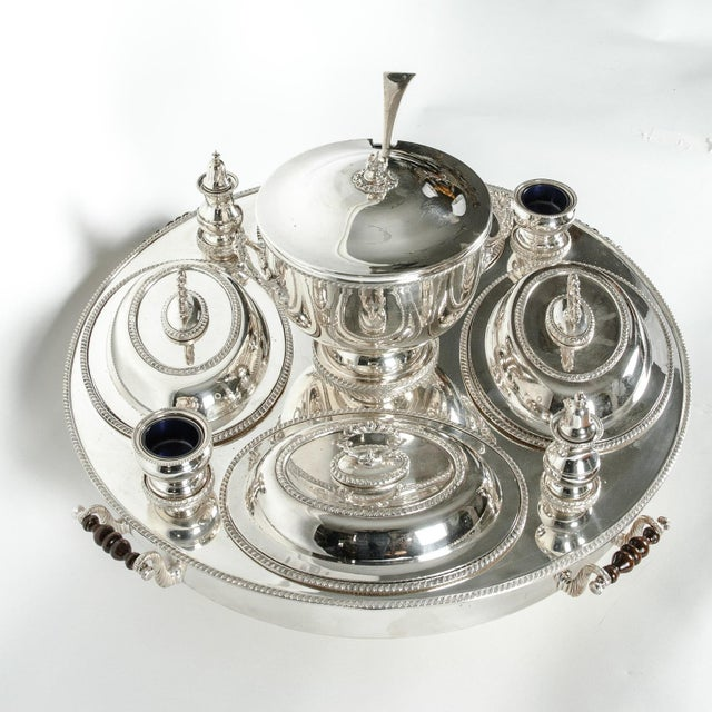 Silver English Silver Plated Revolving Serving Dish Set of 9 For Sale - Image 8 of 12