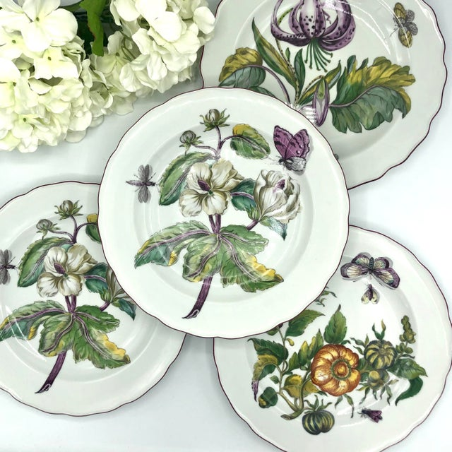 This is a lovely set of four (4) Chelsea Botanical Dinner Plates by Mottahedeh, The botanical illustrations applied to...