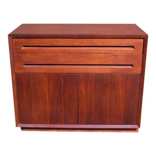 Vintage Mid Century Modern Walnut Mini Credenza Cabinet Server Chest For Sale