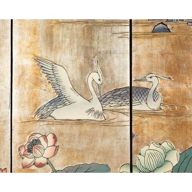 Gold Chinese Export Gilt Coromandel Screen Crane Landscape For Sale - Image 8 of 13