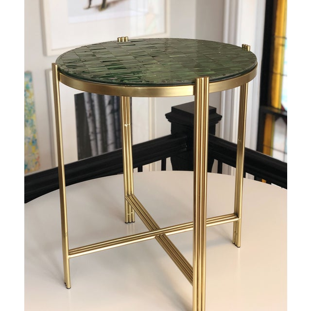 Green Art Deco Mosaic Side Table For Sale - Image 8 of 8