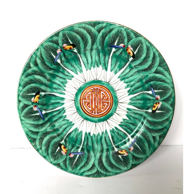 1900s Hand-Painted Chinoiserie Butterfly Plate For Sale - Image 5 of 5