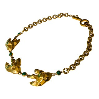 Marc Jacobs Green Stone Gold Tone Choker For Sale
