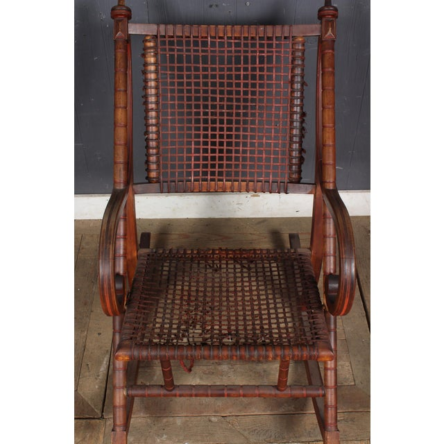 Late 20th Century Hunzinger-Style Carved Wood and Woven Fabric Rocking Chair For Sale - Image 5 of 6