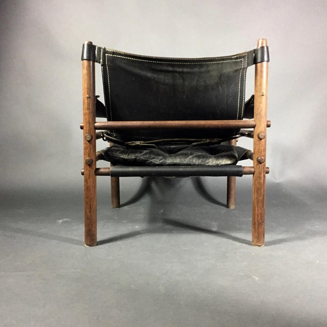 "1970s Arne Norell ""Scirocco"" Safari Chair, Leather & Rosewood, Sweden For Sale - Image 5 of 12"
